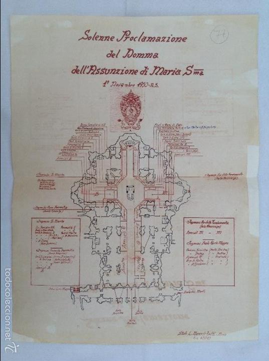 FACSÍMIL DEL PLANO DE LA PROCLAMACIÓN DEL DOGMA DE MARÍA SANTÍSIMA EN 1950 (Arte - Manuscritos Antiguos)