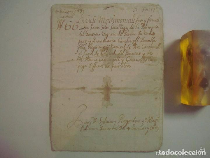 Arte: MANUSCRITO DE 1679.DE CAPITOLS MATRIMONIALS. GERONA..TEXTO CATALÁN.16 PÁGINAS - Foto 2 - 83812672