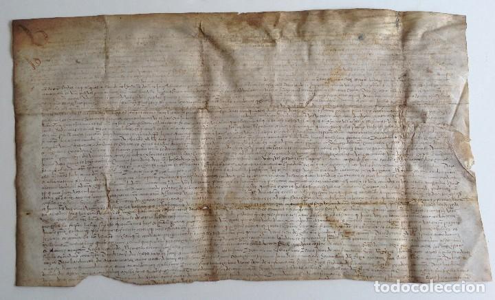 CIRCA 1459 TORTOSA PERGAMINO CARTAS DE PRIVILEGIOS Y FRANQUEZAS NOMBRE DIFERENTES REYES DESDE S XII (Arte - Manuscritos Antiguos)