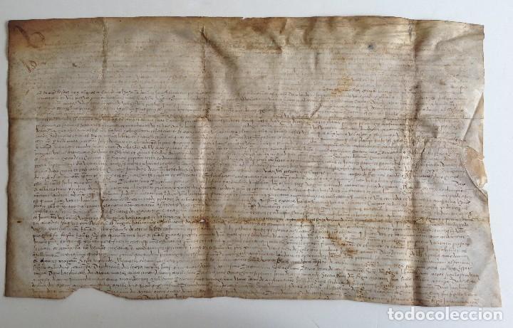 Arte: Circa 1459 Tortosa Pergamino CARTAS DE PRIVILEGIOS Y FRANQUEZAS nombre diferentes reyes desde S XII - Foto 2 - 83918736