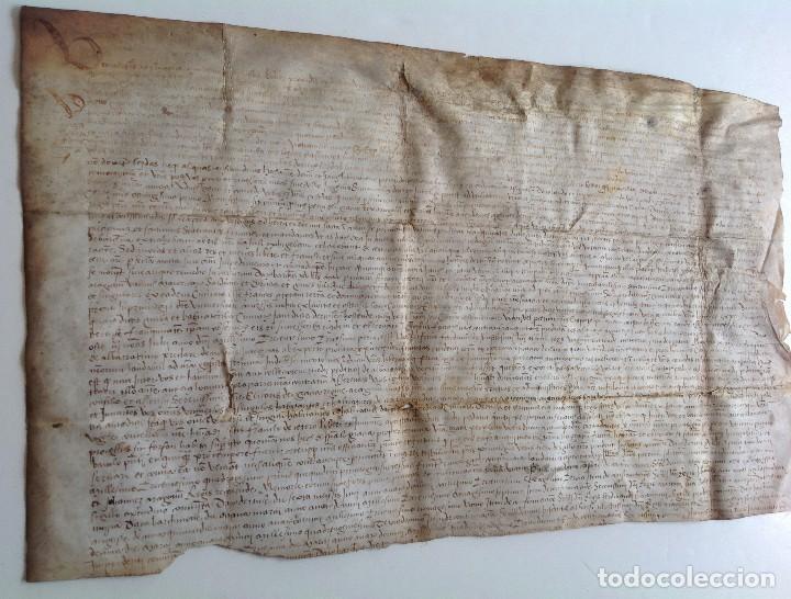 Arte: Circa 1459 Tortosa Pergamino CARTAS DE PRIVILEGIOS Y FRANQUEZAS nombre diferentes reyes desde S XII - Foto 3 - 83918736