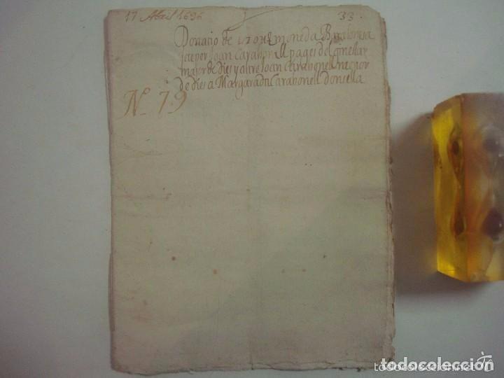 Arte: MANUSCRITO DE 1696.DONACIÓN.TEXTO LATIN Y CATALÁN.GERUNDA FOLIO MENOR. 9 PÁGINAS - Foto 2 - 84461052
