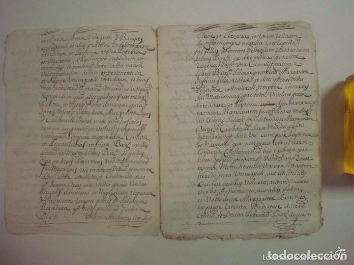 Arte: MANUSCRITO DE 1699.DONACIÓN. GIRONA.TEXTO LATÍN. FOLIO MENOR. 9 PÁGINAS - Foto 3 - 84462736