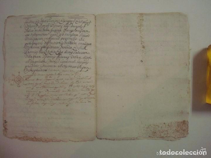 Arte: MANUSCRITO DE 1699.DONACIÓN. GIRONA.TEXTO LATÍN. FOLIO MENOR. 9 PÁGINAS - Foto 4 - 84462736