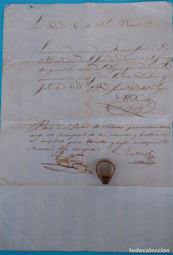 EPOCA REY FERNANDO VII,ANTIGUO MANUSCRITO Y ANILLO SIGLO XIX,1829,ADUANA DE MATARO,DE SAL-TABACO ? (Arte - Manuscritos Antiguos)