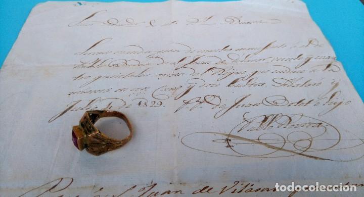 Arte: EPOCA REY FERNANDO VII,ANTIGUO MANUSCRITO Y ANILLO SIGLO XIX,1829,ADUANA DE MATARO,DE SAL-TABACO ? - Foto 3 - 87671048