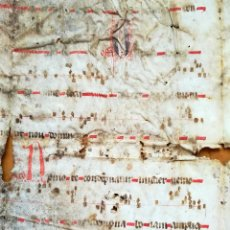 Arte: MANUSCRITO-PARTITURA MUSICAL MEDIEVAL,PERGAMINO,S.XIV-XV,POSIBLE MONASTERIO MONTSERRAT,INCUNABLE. Lote 95328159
