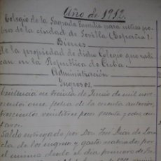 Arte: FUNDACION GERTRUDIS ZUAZO SEVILLA COLEGIO SAGRADA FAMILIA CONTABILIDAD AÑOS DEL 1912 AL1942.3 LIBRO. Lote 100287183