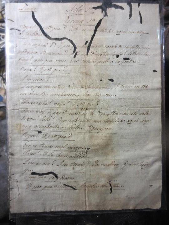 MANUSCRITO ANTIGUA OBRA TEATRAL SIGLO XVIII DE 2 ACTOS Y VARIAS ESCENAS (Arte - Manuscritos Antiguos)