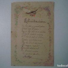 Arte: LIBRERIA GHOTICA. BELLA FELICITACION MANUSCRITA DEL SIGLO XIX. CUARTILLA EN FOLIO MENOR. UNICO!!!. Lote 107739599