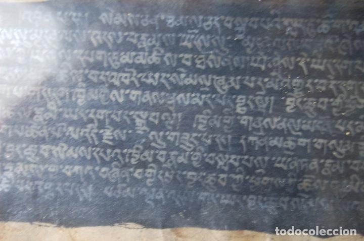 Arte: Manuscrito Tibetano. Enmarcado doble cristal de 56 x 35,5. Son dos tiras de 12,5 x 48. - Foto 2 - 109033947