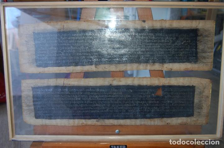 Arte: Manuscrito Tibetano. Enmarcado doble cristal de 56 x 35,5. Son dos tiras de 12,5 x 48. - Foto 5 - 109033947