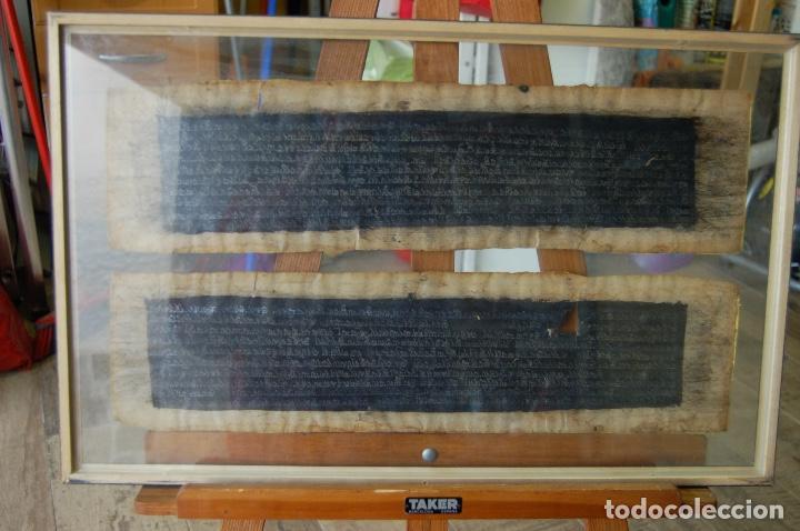 Arte: Manuscrito Tibetano. Enmarcado doble cristal de 56 x 35,5. Son dos tiras de 12,5 x 48. - Foto 8 - 109033947