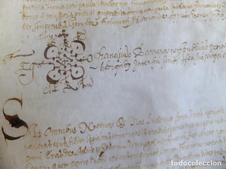 MANUSCRITO EN PERGAMINO CATALUÑA GIRONA L FORORELLAS DE TAYALA 1590 (Arte - Manuscritos Antiguos)