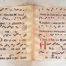 Arte: MUY ANTIGUA DOBLE HOJA EN PERGAMINO DE CANTORAL ROMANO,IDEAL PARA ENMARCAR,S. XVII. Lote 110475595