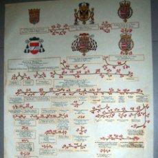 Arte: PERGAMINO CON ESCUDOS NOBILIARIPOS ARBOL GENIALOGICO DE FAMILIA D.JULIO AUMENTE MARTÍNEZ-RÜCKER (CÓR. Lote 110638139
