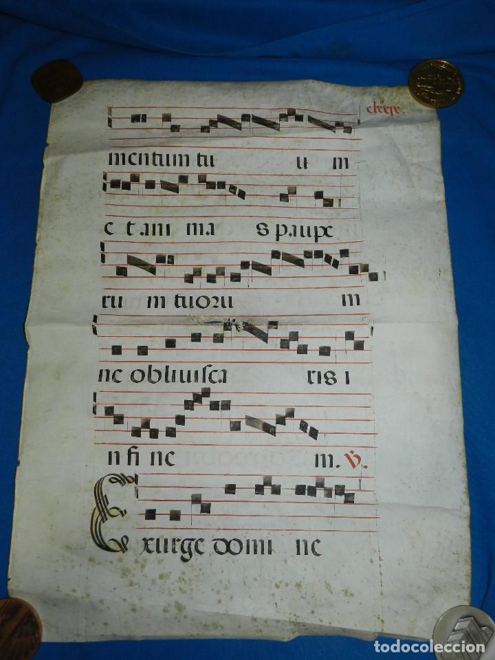 (MF) HOJA DE PERGAMINO CANTORAL 56 X 41 CM, HAN PUESTO LA FECHA POSTEIOR, NO CORRESPONDE AL CANTORAL (Arte - Manuscritos Antiguos)