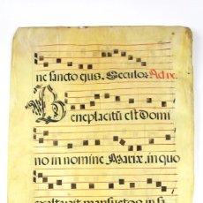 Art: PAR -07 PARTITURA DE GREGORIANO EN PERGAMINO ESCRITO A MANO SIGLO XVIII. Lote 118252443