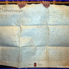 Art: AÑO 1798. SIGLO XVIII: ANTIGUO DOBLE MANUSCRITO INGLÉS EN PERGAMINO. 74 X 60 CM. SELLOS LACRADOS.. Lote 118606867