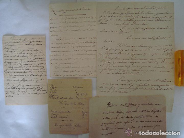 CONJUNTO DE RECETAS MANUSCRITAS DE APROXIMADAMENTE 1840 CONTRA ENFERMEDADES (Arte - Manuscritos Antiguos)