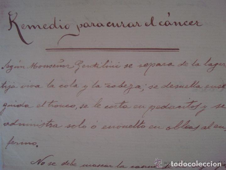 Arte: CONJUNTO DE RECETAS MANUSCRITAS DE APROXIMADAMENTE 1840 CONTRA ENFERMEDADES - Foto 2 - 119515235