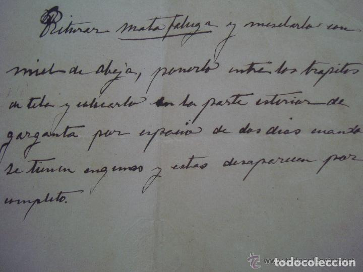 Arte: CONJUNTO DE RECETAS MANUSCRITAS DE APROXIMADAMENTE 1840 CONTRA ENFERMEDADES - Foto 3 - 119515235