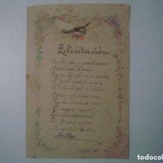 Arte: LIBRERIA GHOTICA. BELLA FELICITACION MANUSCRITA DEL SIGLO XIX. CUARTILLA EN FOLIO MENOR. UNICO!!!. Lote 119535959