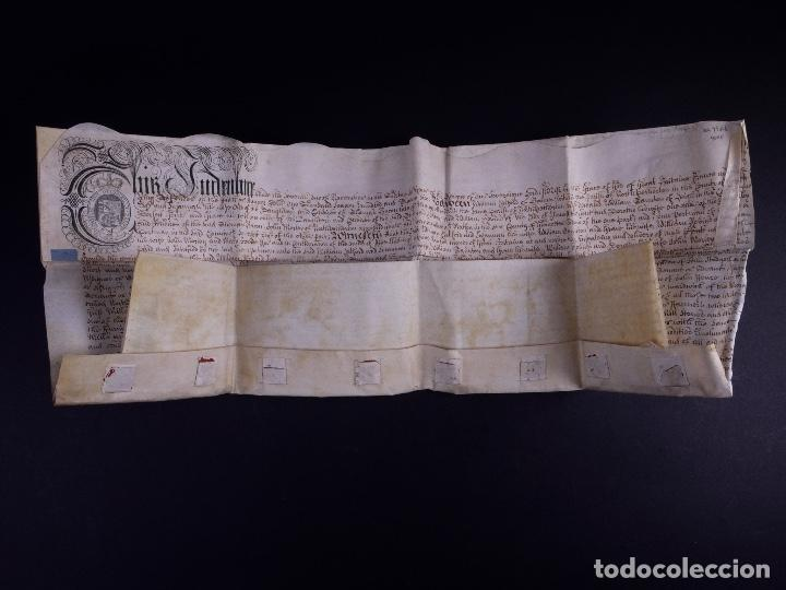 Arte: PERGAMINO MANUSCRITO EN INGLES CON OCHO SELLOS DE LACRE, 1726 - Foto 3 - 119662731
