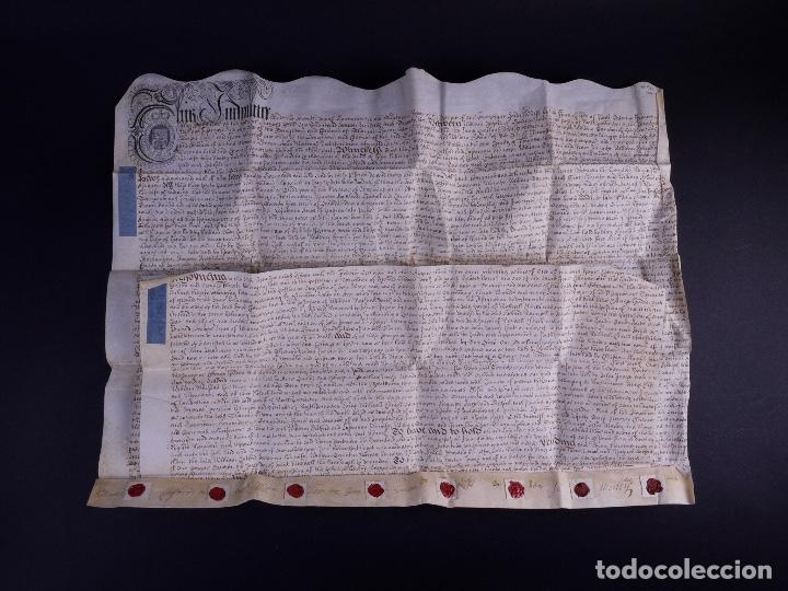 Arte: PERGAMINO MANUSCRITO EN INGLES CON OCHO SELLOS DE LACRE, 1726 - Foto 4 - 119662731