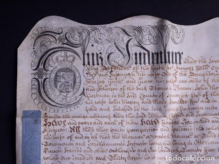 Arte: PERGAMINO MANUSCRITO EN INGLES CON OCHO SELLOS DE LACRE, 1726 - Foto 5 - 119662731