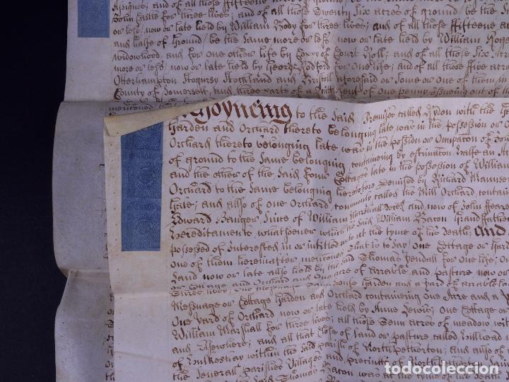 Arte: PERGAMINO MANUSCRITO EN INGLES CON OCHO SELLOS DE LACRE, 1726 - Foto 6 - 119662731