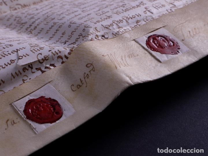 Arte: PERGAMINO MANUSCRITO EN INGLES CON OCHO SELLOS DE LACRE, 1726 - Foto 8 - 119662731