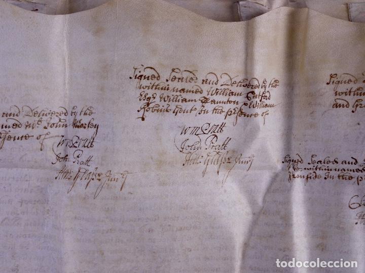 Arte: PERGAMINO MANUSCRITO EN INGLES CON OCHO SELLOS DE LACRE, 1726 - Foto 12 - 119662731