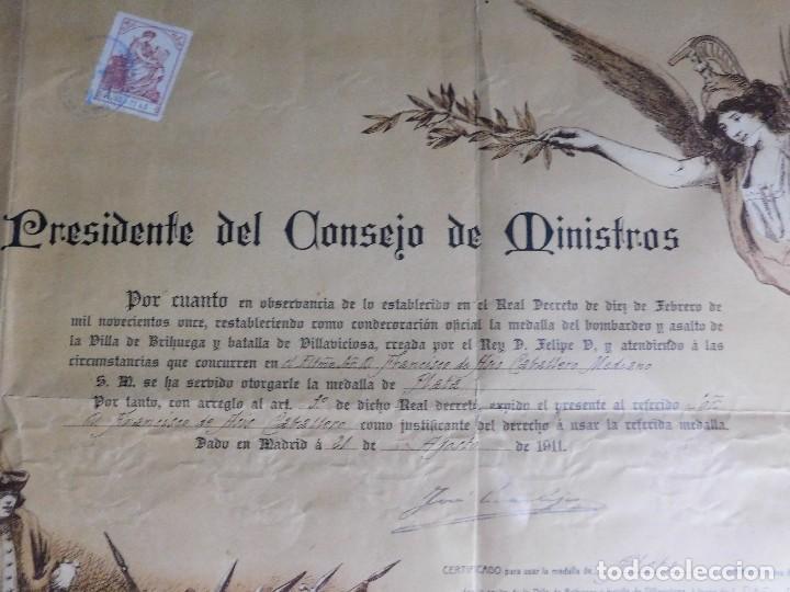 Arte: Presidente Consejo de Ministros Español, José Canalejas, 21 Agosto 1911. ¡Manuscrito sellado grande! - Foto 4 - 120004439