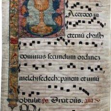 Arte: HOJA DE CANTORAL EN PERGAMINO MINIADO - S. XVI - XVII. Lote 120537715