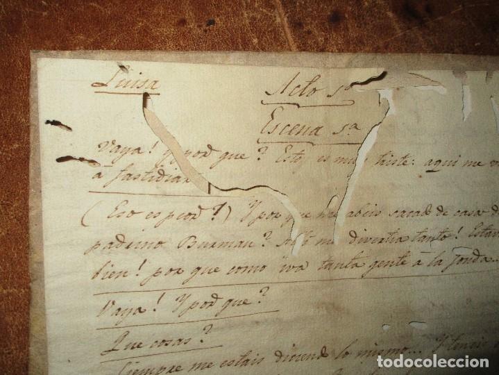 PERGAMINO MANUSCRITO ANTIGUA OBRA TEATRAL SIGLO XVIII DE 2 ACTOS Y VARIAS ESCENAS AUTOR DESCONOCID (Arte - Manuscritos Antiguos)