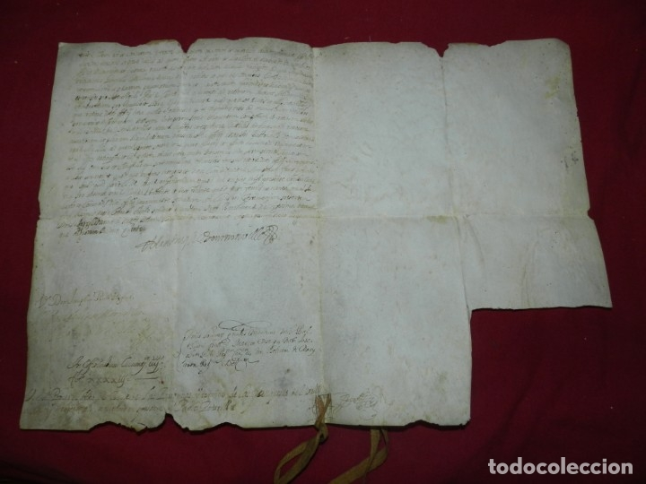 (M) PERGAMINO MANUSCRITO FRANQUESES DE LLOGREGAT ( SANT JUST DESVERN ) 1679, SEÑALES DE USO NORMALES (Arte - Manuscritos Antiguos)