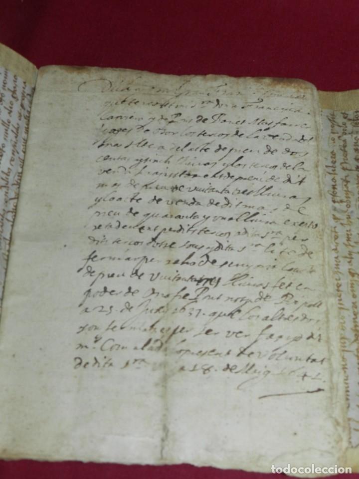 Arte: (M) Libro Documento Manuscrito Santa Maria de Osor (Gerona) 1644, Libro de Ventas Mas Ferrer - Foto 3 - 172820518
