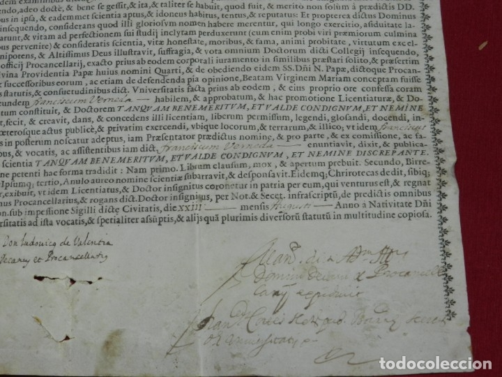 Arte: (M) Pergamino Manuscrito / Impreso MDCFXXXXVIII In Christi Nomine Ejusque Inmaculate - Inmaculada - Foto 5 - 172820738