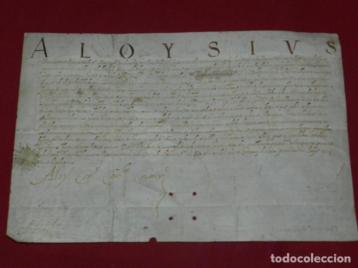 (M) PERGAMINO MANUSCRITO ALOYSIUS (SAN ALOYSIUS) AÑO 1584, 29X19,5CM, SEÑALES DE USO NORMALES (Arte - Manuscritos Antiguos)