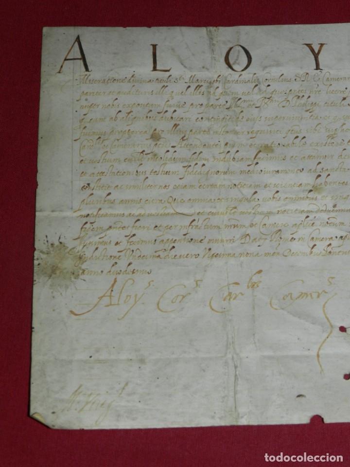 Arte: (M) Pergamino Manuscrito Aloysius (San Aloysius) año 1584, 29x19,5cm, señales de uso normales - Foto 2 - 172820878