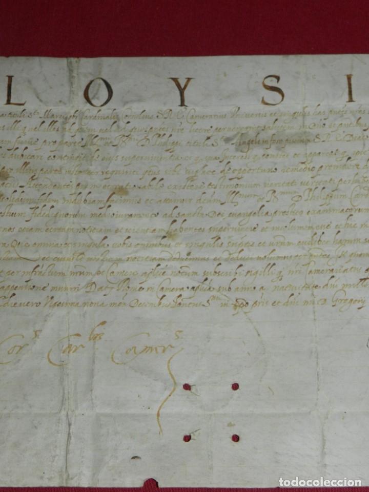 Arte: (M) Pergamino Manuscrito Aloysius (San Aloysius) año 1584, 29x19,5cm, señales de uso normales - Foto 3 - 172820878