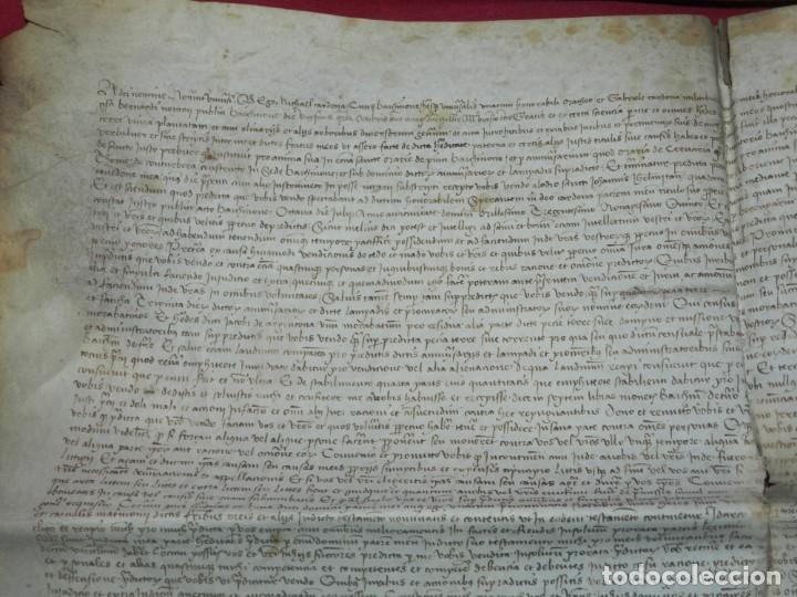 Arte: (M) PERGAMINO DE CARDONA S.XVIII, 60X45 CM, SEÑALES DE USO CON ROTURITAS - Foto 2 - 177183512