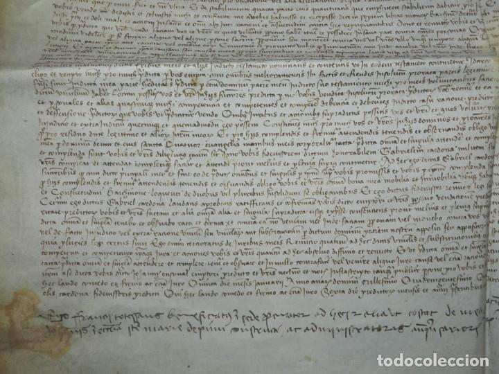 Arte: (M) PERGAMINO DE CARDONA S.XVIII, 60X45 CM, SEÑALES DE USO CON ROTURITAS - Foto 5 - 177183512