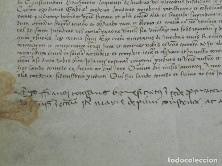 Arte: (M) PERGAMINO DE CARDONA S.XVIII, 60X45 CM, SEÑALES DE USO CON ROTURITAS - Foto 7 - 177183512