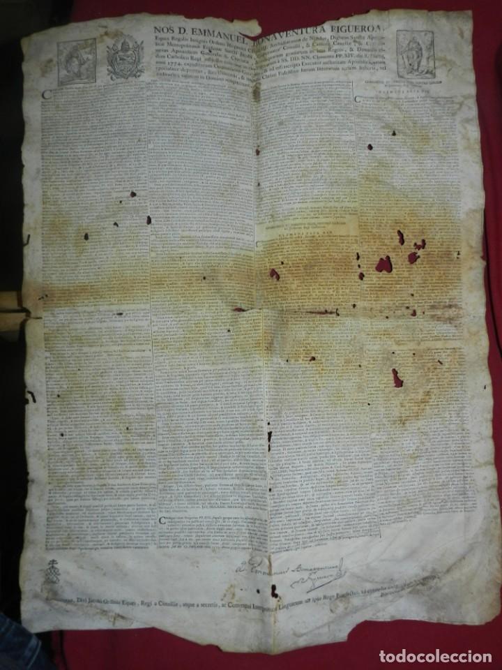 (M) PERGAMINO CON GRABADO DE ZARAGOZA AÑO 1774 D. EMMANUEL BONAVENTURA FIGUEROA (Arte - Manuscritos Antiguos)
