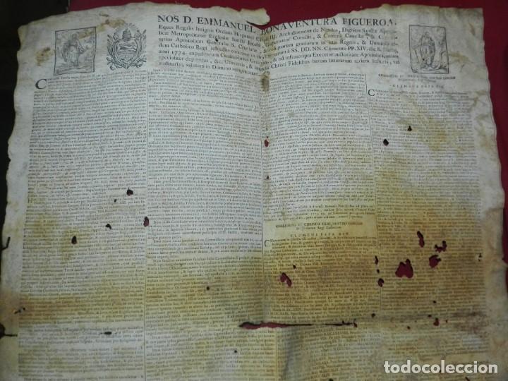 Arte: (M) PERGAMINO CON GRABADO DE ZARAGOZA AÑO 1774 D. EMMANUEL BONAVENTURA FIGUEROA - Foto 2 - 177183964