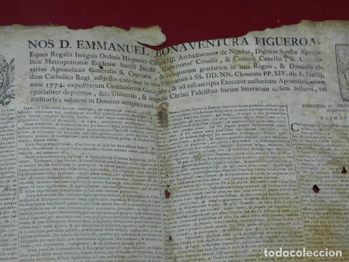 Arte: (M) PERGAMINO CON GRABADO DE ZARAGOZA AÑO 1774 D. EMMANUEL BONAVENTURA FIGUEROA - Foto 4 - 177183964