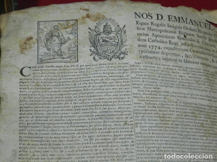 Arte: (M) PERGAMINO CON GRABADO DE ZARAGOZA AÑO 1774 D. EMMANUEL BONAVENTURA FIGUEROA - Foto 5 - 177183964