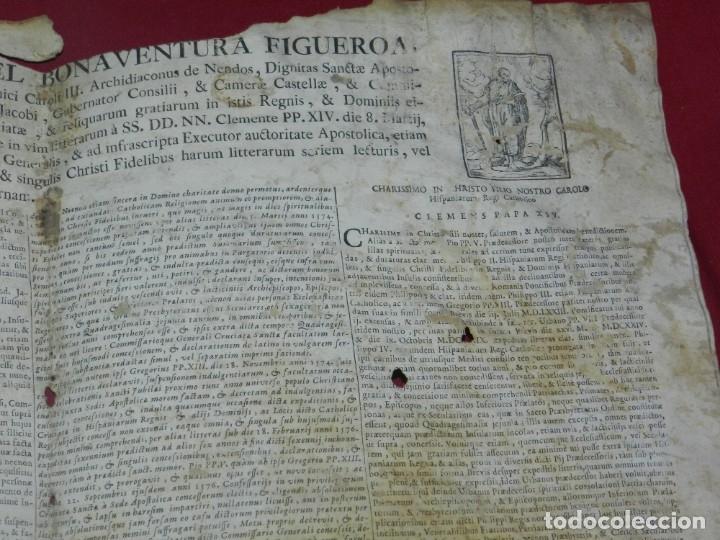 Arte: (M) PERGAMINO CON GRABADO DE ZARAGOZA AÑO 1774 D. EMMANUEL BONAVENTURA FIGUEROA - Foto 6 - 177183964